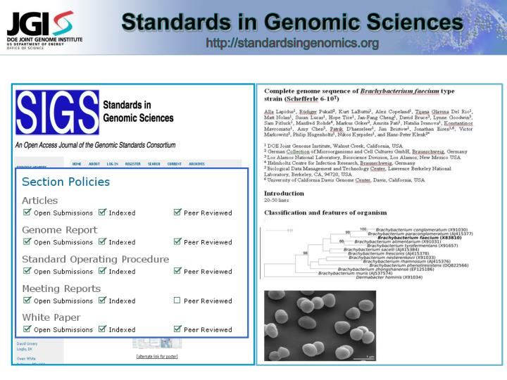 Standards in Genomic Sciences