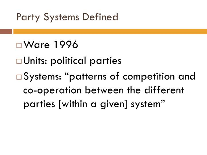 Party systems defined
