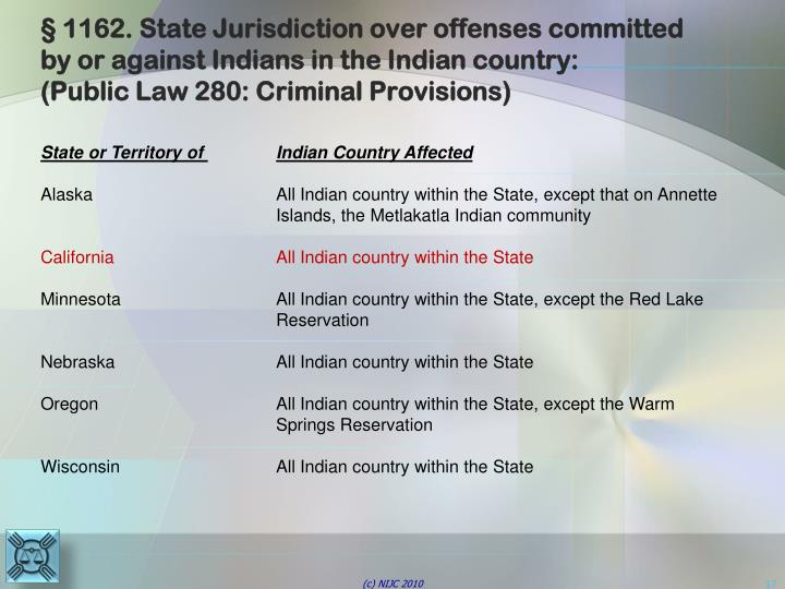 § 1162. State Jurisdiction over offenses committed