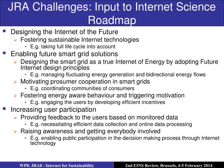 JRA Challenges: Input to Internet Science Roadmap