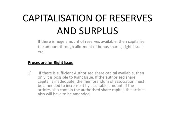 Capitalisation of reserves and surplus