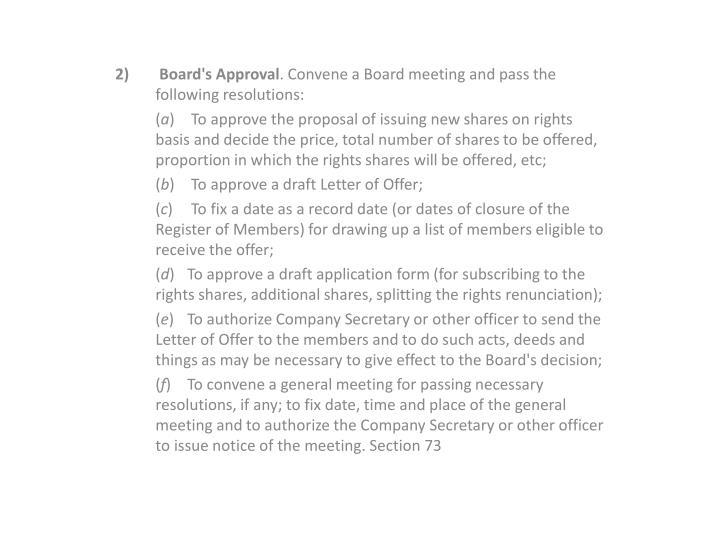 2)  Board's Approval