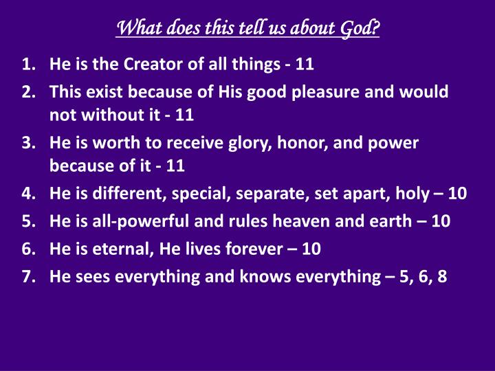 What does this tell us about God?