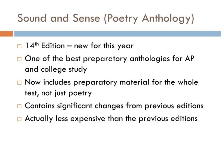 Sound and Sense (Poetry Anthology)