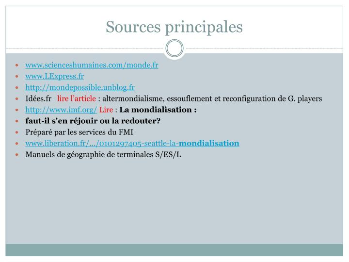 Sources principales