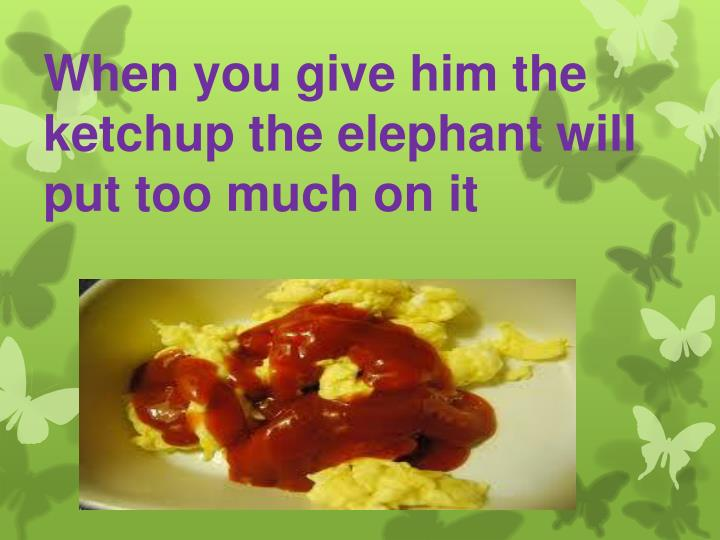 When you give him the ketchup the elephant will put too much on it