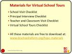 materials for virtual school tours