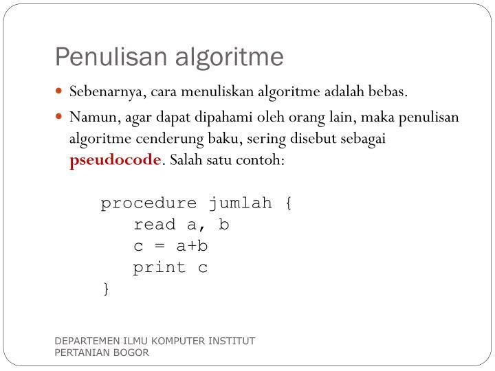 Penulisan algoritme