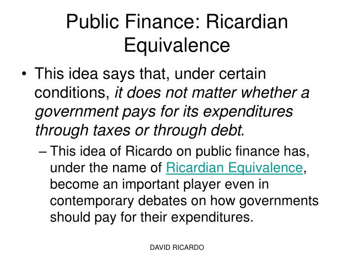 essays on ricardian equivalence By roberto ricciuti abstract: this paper reviews the literature on ricardian equivalence this hypothesis may be interpreted as a generalization to.