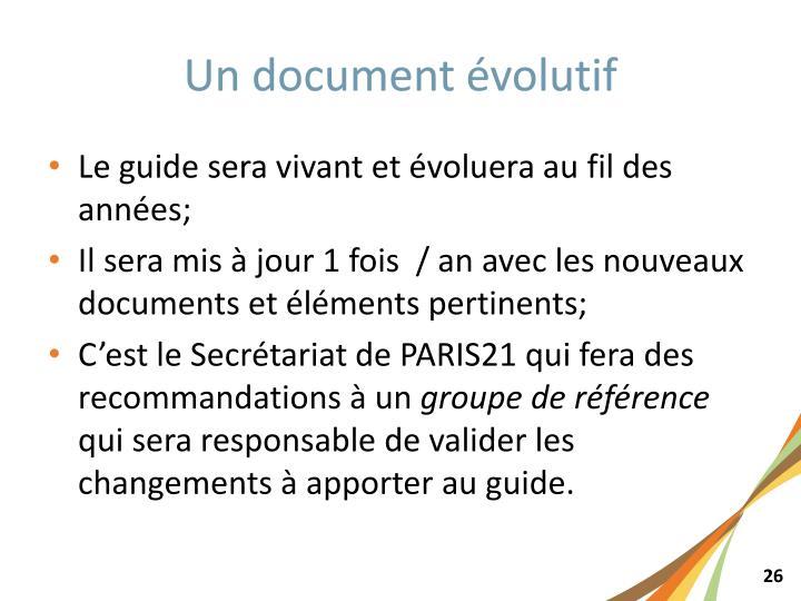 Un document évolutif