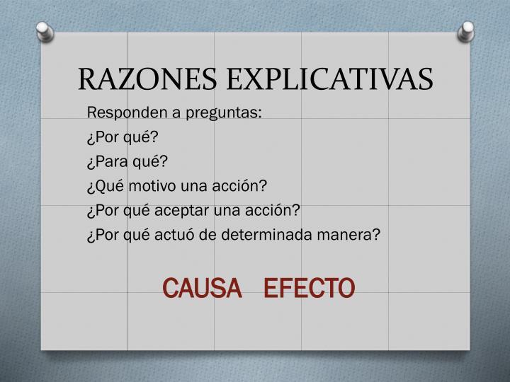 RAZONES EXPLICATIVAS