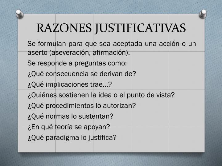 RAZONES JUSTIFICATIVAS