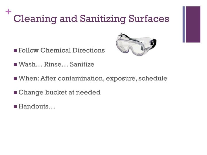 Cleaning and Sanitizing Surfaces