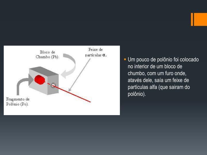 Um pouco de polônio foi colocado no interior de um bloco de chumbo, com um furo onde, atavés dele, saía um feixe de partículas alfa (que sairam do polônio).