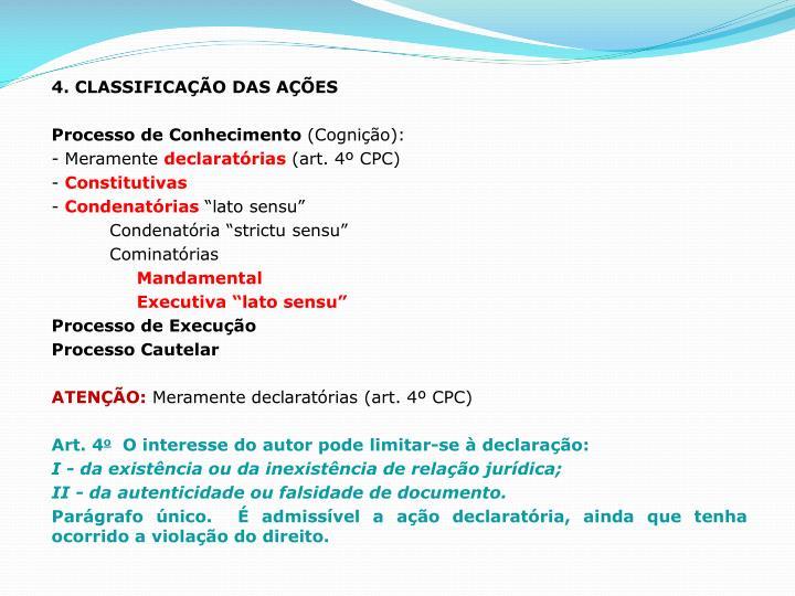 4. CLASSIFICAÇÃO DAS AÇÕES