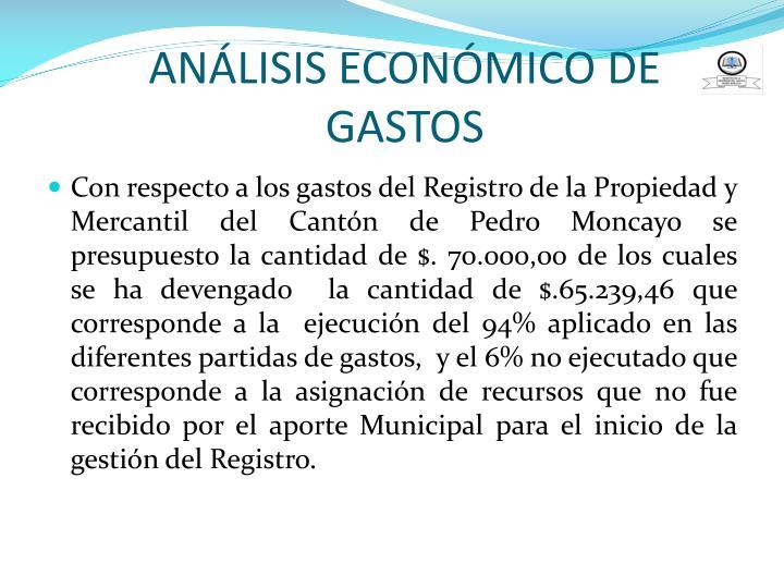 ANÁLISIS ECONÓMICO DE GASTOS