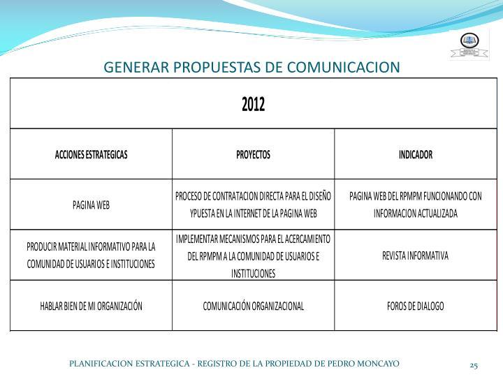 GENERAR PROPUESTAS DE COMUNICACION