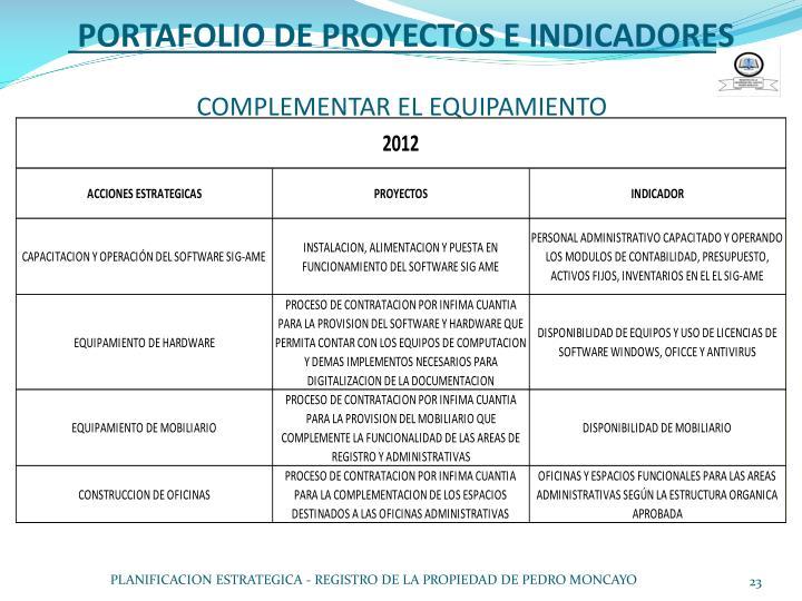 PORTAFOLIO DE PROYECTOS E INDICADORES