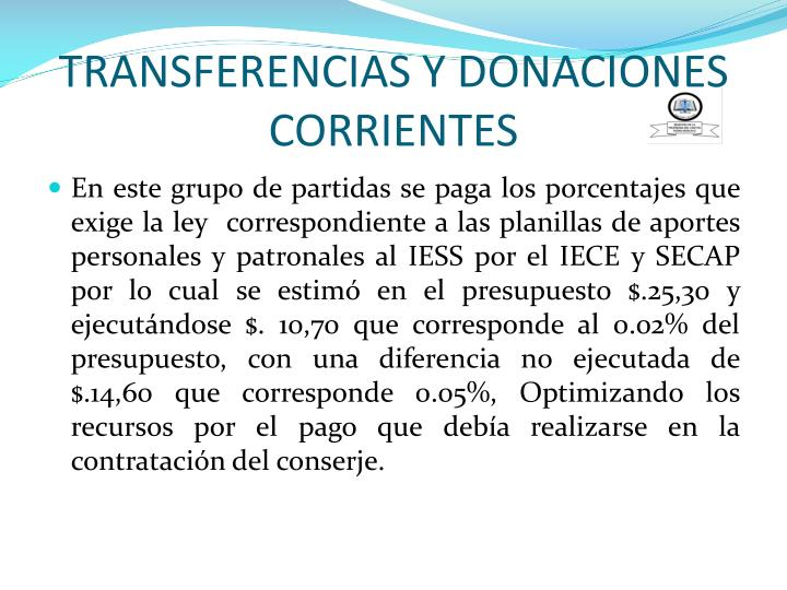 TRANSFERENCIAS Y DONACIONES CORRIENTES