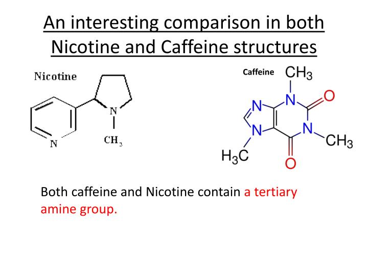 An interesting comparison in both Nicotine and Caffeine structures