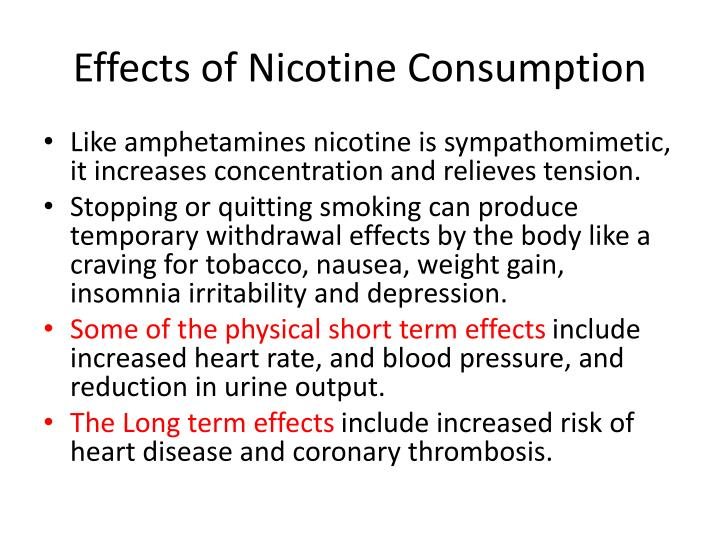 Effects of Nicotine Consumption