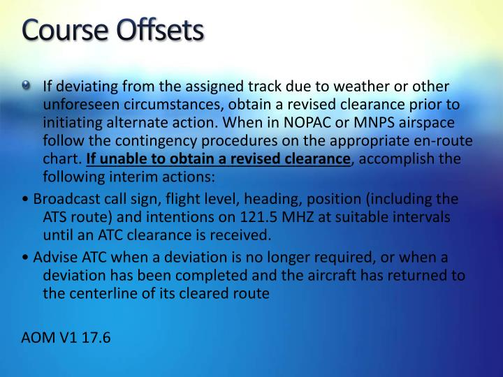 Course Offsets