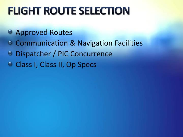 FLIGHT ROUTE SELECTION