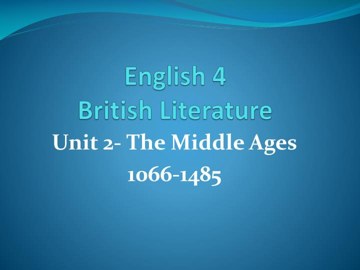 English 4 british literature