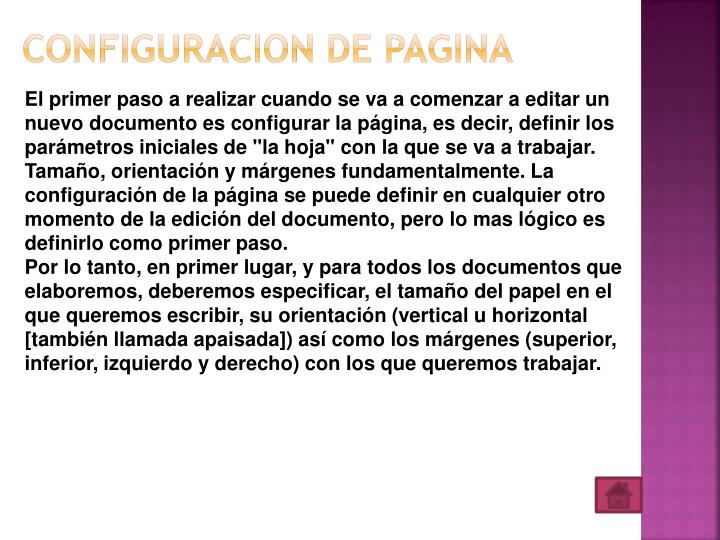 CONFIGURACION DE PAGINA