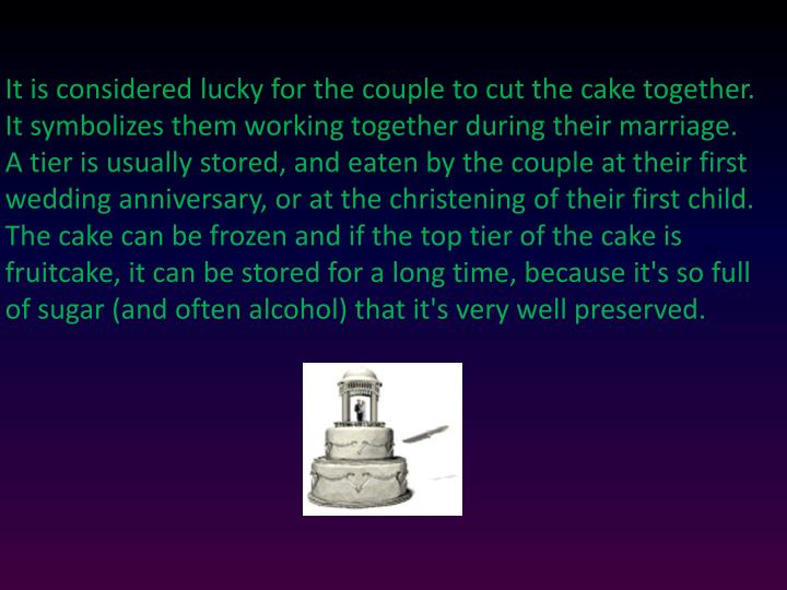 It is considered lucky for the couple to cut the cake together. It