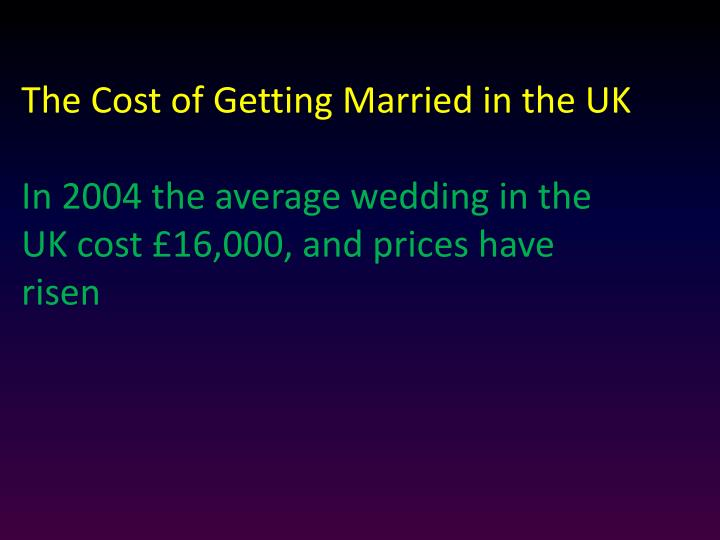 The Cost of Getting Married in the UK