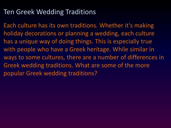 Ten Greek Wedding Traditions