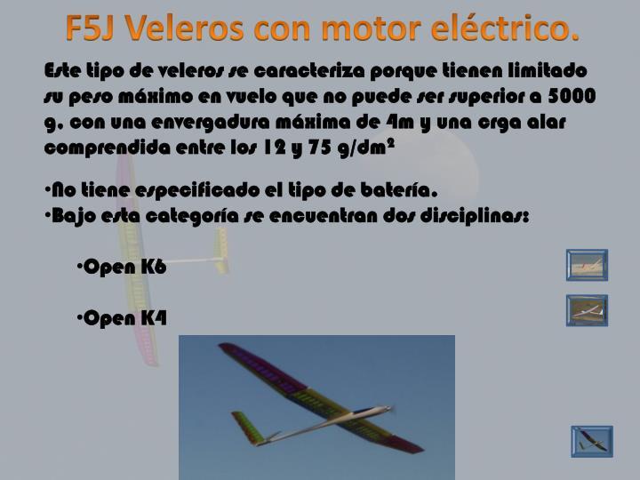 F5J Veleros con motor eléctrico.