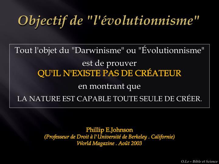 """Objectif de """"l'évolutionnisme"""""""