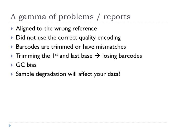 A gamma of problems / reports