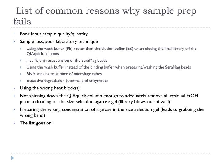 List of common reasons why sample prep fails