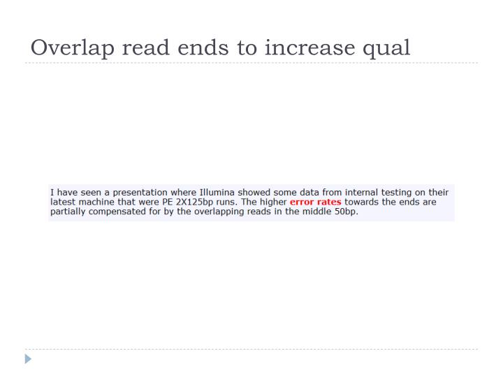 Overlap read ends to increase