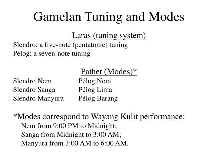 Gamelan Tuning and Modes