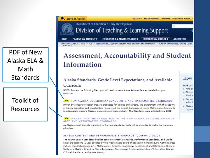 PDF of New Alaska ELA & Math Standards