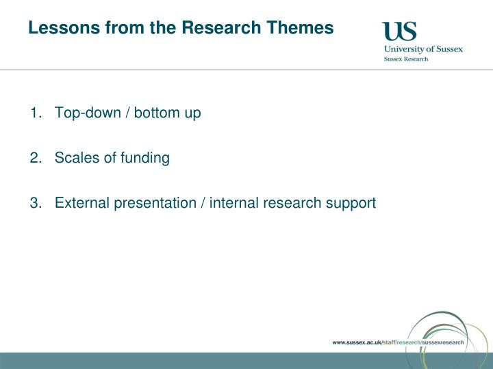 Lessons from the Research Themes