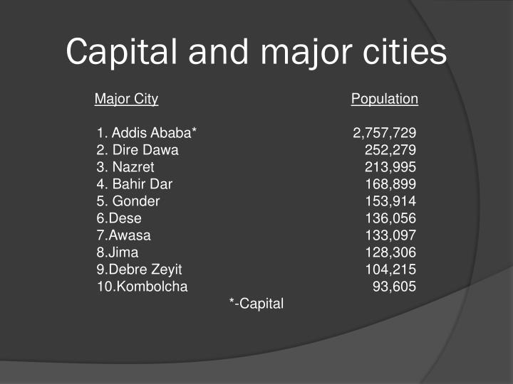 Capital and major cities
