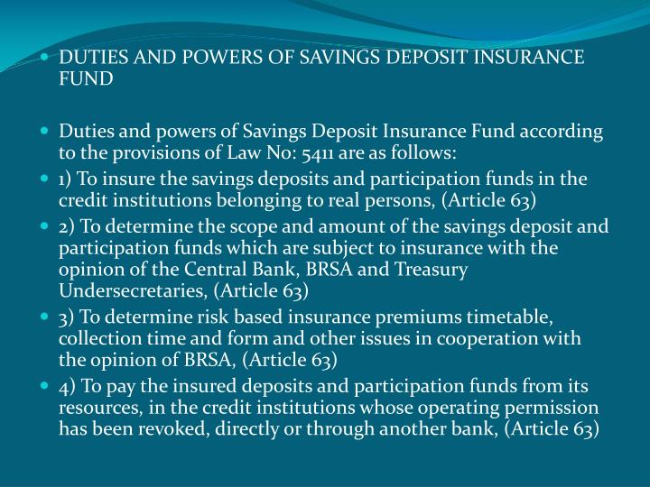 DUTIES AND POWERS OF SAVINGS DEPOSIT INSURANCE FUND