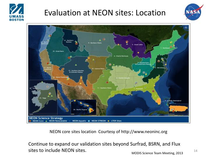 Evaluation at NEON sites: Location