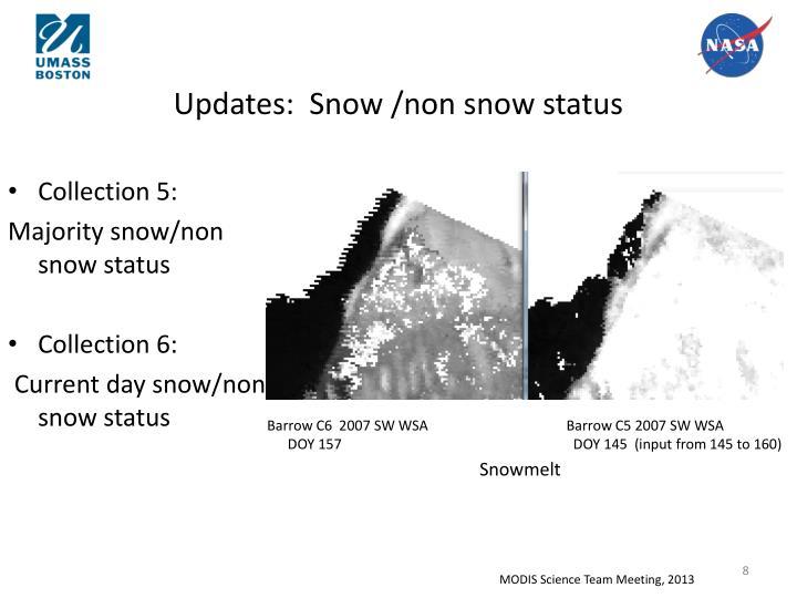 Updates:  Snow /non snow status