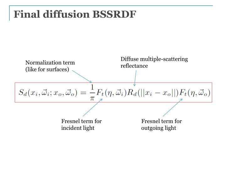 Final diffusion BSSRDF