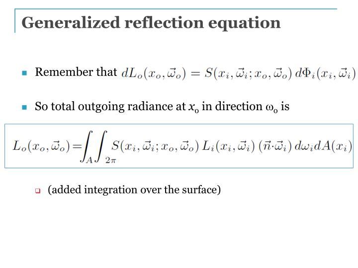 Generalized reflection equation