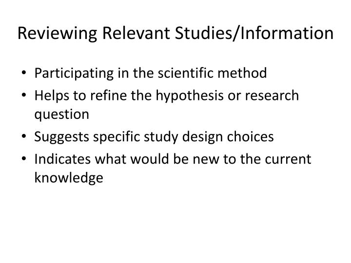 Reviewing Relevant Studies/Information