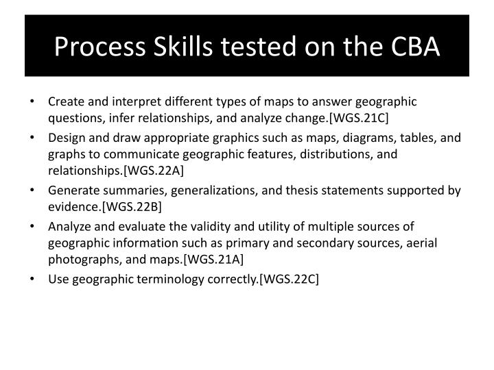 Process Skills tested on the CBA
