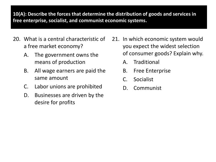 In which economic system would you expect the widest selection of consumer goods? Explain why.