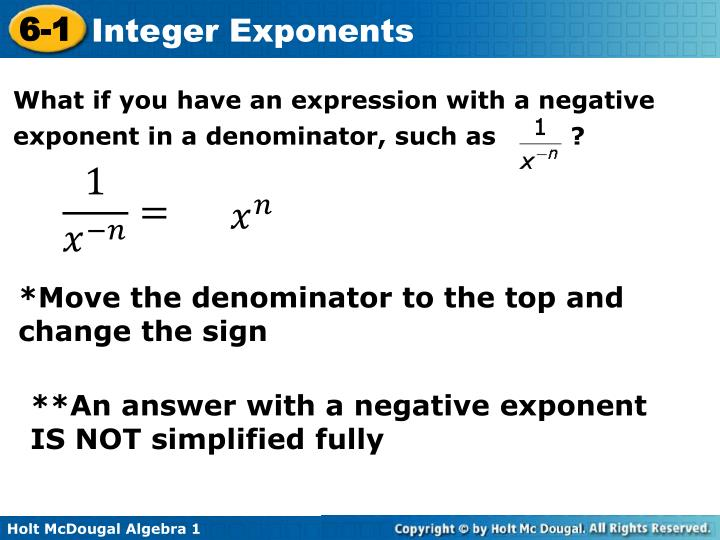 What if you have an expression with a negative exponent in a denominator, such as